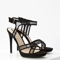 Crisscross Mesh-Paneled Pumps