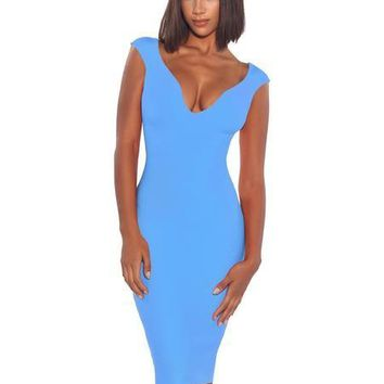 Deep V Ice blue Bandage Midi Dress
