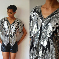 Vtg Sequined Silver Butterfly Black Sheer Silk Disco Top