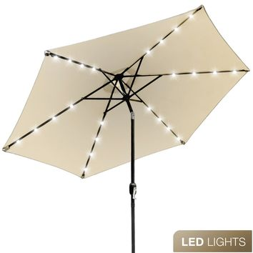 Sorbus LED Outdoor Umbrella, 10 ft Patio Umbrella LED Solar Power, with Tilt Adjustment and Crank Lift System, Perfect for Backyard, Patio, Deck, Poolside, and more (Solar LED - Beige)