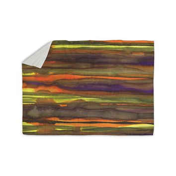 "Miranda Mol ""Tropical Sunset"" Gold Orange Abstract Stripes Watercolor Painting Sherpa Blanket"