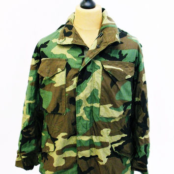 Vintage US ARMY America Camo Indie M65 Jacket Small