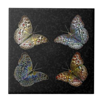 Colorful Modern Trendy Colors Butterflies Drawing Tile