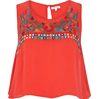 Red embroidered tank top - tops - sale - women