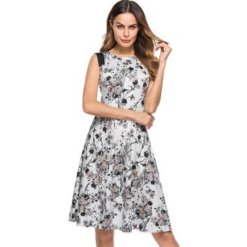 Berydress Elegant Women Contrast Sleeveless A-Line Knee-Length Wedding Party Floral Print Vintage Swing Dress with Pockets