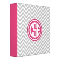 Gray and Pink Preppy Chevron Circle Monogram 3 Ring Binder