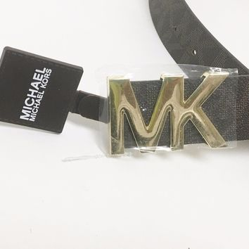 NEW MICHAEL KORS BROWN PVC+SYNTHETIC LEATHER,GOLD MK LOGO BUCKLE BELT SIZE-SMALL