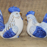 Vintage Ceramic Hen and Rooster Set, Blue and White Hen, Blue and White Rooster, Farm Decor, Rooster Decor, Hen Decor, French Country