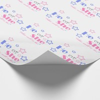 Gender reveal baby shower he or she baby shower wrapping paper