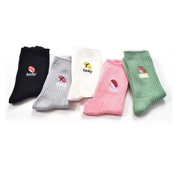 Lucky Sushi Food - 5 Pairs Socks Funny Crazy Cool Novelty Cute Fun Funky Colorful