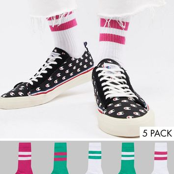 ASOS Sports Style Socks In Summer Weight In Bold Green & Pinks 5 Pack at asos.com