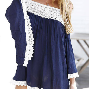 Navy Long Sleeve Off The Shoulder Romper