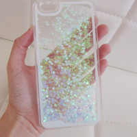 iPhone 6 Plus case glitter clear liquid hipster heart iridescent geometric sequins floating liquid waterfall quicksand phone case US seller