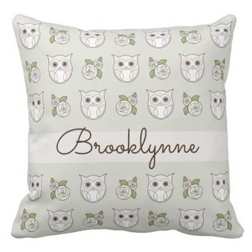 Retro Owl and Rose Pattern Girly Cute Tan Throw Pillow