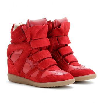 mytheresa.com -  Isabel Marant - BEKETT WEDGE-SNEAKERS AUS VELOURSLEDER - Luxury Fashion for Women / Designer clothing, shoes, bags