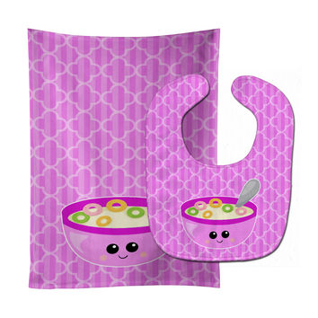 Pink Bowl of Cereal Baby Bib & Burp Cloth BB7163STBU