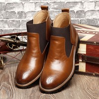 Fashion Full Grain Genuine Leather Boots Men Pointed-toe Oxfords Ankle Boots Botas Size 38-46,brown/red/black