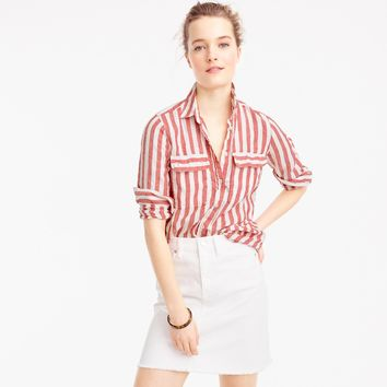 Striped perfect shirt with eyelet trim