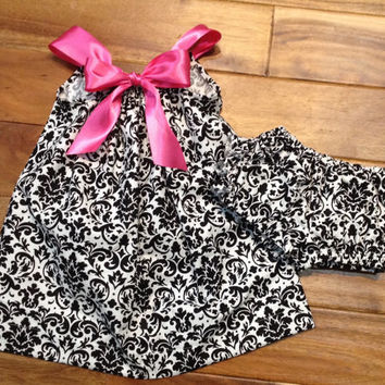 Baby/ Toddler damask pillow case monogrammed dress
