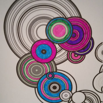 Early previews: Adult Coloring Book Pages. Geometric Mandalas and Particle Rings by generative artist Kristin Henry