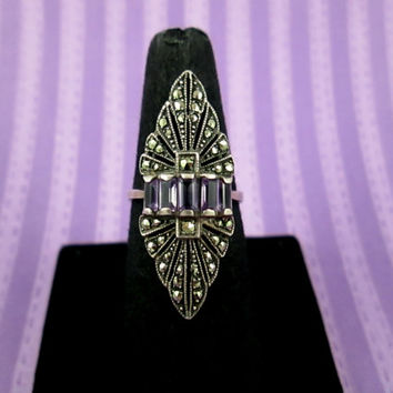Fabulous Vintage Marcasite Amethyst Sterling Silver Ring Size 7 Art Deco Inspired Long Diamond Shaped Face Baguette Cut Amethyst Gorgeous!