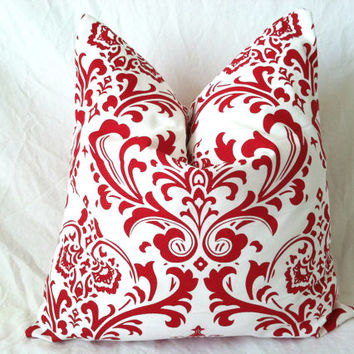 Red Christmas Euro Sham Pillow Covers - Set of Two, 24 x 24, Modern Damask Floral Cushion Covers, Elegant Pillows, Floor Pillows, Cushions
