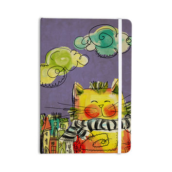 "Carina Povarchik ""Urban Cat With Scarf"" Yellow Illustration Everything Notebook"