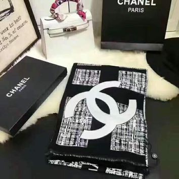 Chanel Graffiti Tassel Multicolor Fashion Women Winter Scarf  Blanket Scarf B-YH-FTMPF