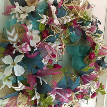 Summer Wreath for Front Door, Turquoise Beach House Decor, Porch Patio Wall Hanger Decoration, Unique Houswarming Gift, Boho Chic Garden