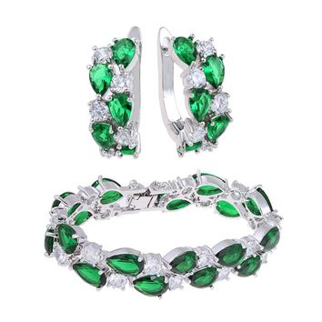 CZ Zirconia Luxury Jewelry Sets Mona Lisa African Jewelry Set Bridal Jewelry Set Green Indian Jewelry Foe Fashion Women WS100