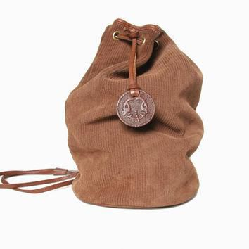 Ralph Lauren Mini Backpack - Suede Leather Backpack - Brown Leather Purse - Suede Back