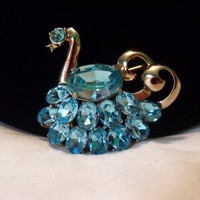 CoroCraft Coro Aquamarine Blue Glass Swan Bird Vintage Rhinestone Brooch Pin