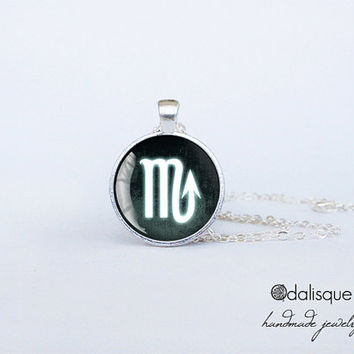 Scorpio sign pendant European Zodiac necklace the scorpion water sign gift jewelry silver for him for her jewellery key ring