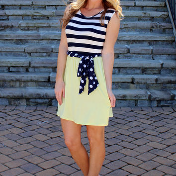 Polka Dot Pop Dress Yellow