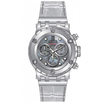 Invicta 14607 Women's Jason Taylor Chronograph MOP Dial White Leather Strap Dive Watch