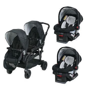 Graco Black Baby, Infant Double Twin Sit N Stand Stroller Travel System with 2 Car Seats