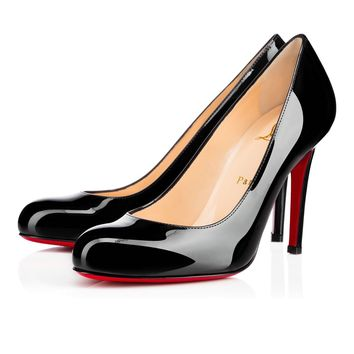 Best Online Sale Christian Louboutin Cl Simple Pump Black Patent Leather 100mm Stiletto Heel Classic