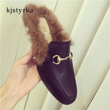 Kjstyrka 2018 Brand designer woman mules slippers warm fur shoes rabbit hairs prince town flats shoes