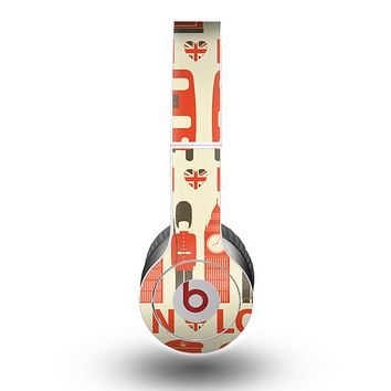 The Vector Tan and Red London Skin for the Beats by Dre Original Solo-Solo HD Headphones