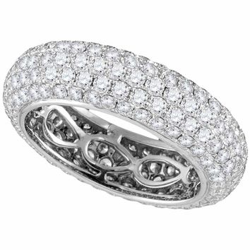14kt White Gold Women's Round Pave-set Diamond Comfort Wedding Band Ring 3-1-3 Cttw - FREE Shipping (US/CAN)