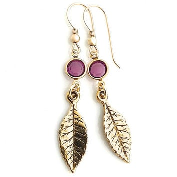 Gold Leaf Earring, Purple, Amethyst Crystal, Gold Leaves, Nature Lover Gift, Nature Earring, 388