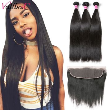 Vallbest Human Hair Lace Frontal With Bundles Brazilian Straight Hair 3 Bundles With Closure 4X13 Lace Front Remy Hair Extension