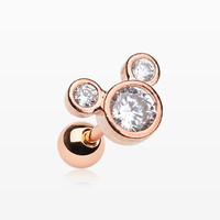 Rose Gold Bubble Eyes Sparkle Cartilage Tragus Barbell