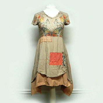 Small Boho Shabby Chic Dress, Funky Artsy Mori Girl Spring Summer Bohemian Butterfly Dress, Upcycled Clothing by Primitive Fringe