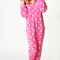 Rochelle Spotted Hooded Onesuit with Feet