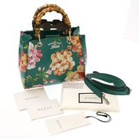 GUCCI Blooms Bamboo Shopper Bag Hand Shoulder Purse Floral Flower Green Women