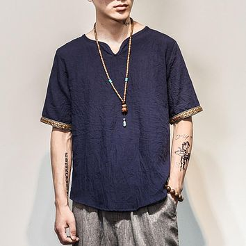 Sinicism Store 2018 Men Cotton Linen Short Sleeve T Shirt Summer Thin Fabric Chinese Traditional Clothes Male Retro t-Shirt 1601