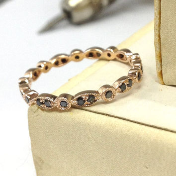 Black Diamond Wedding Ring,14K Rose Gold,Art Deco Antique Style,.27ct Diamonds,Full Eternity Matching Band,Anniversary Fine Rings,Stackable
