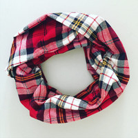 Handmade, Single Loop, Double Layer Circle Scarf -  Red, White, Gold Tartan.  Birthday Present, Gift