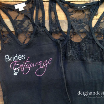 SET OF 5 Bridesmaid or Bachelorette Party Tank Tops - Racerback Tops with Lace - Bridesmaid Gifts
